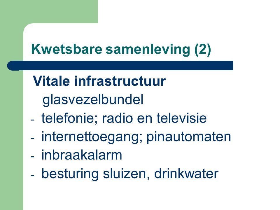 Kwetsbare samenleving (2) Vitale infrastructuur glasvezelbundel - telefonie; radio en televisie - internettoegang; pinautomaten - inbraakalarm - besturing sluizen, drinkwater