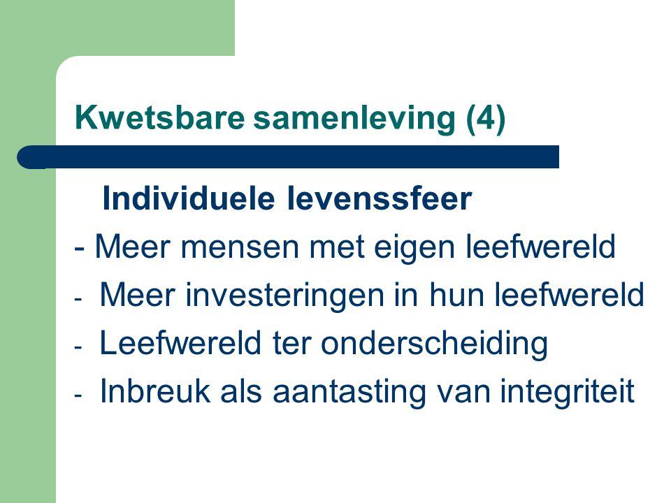 Kwetsbare samenleving (4) Individuele levenssfeer - Meer mensen met eigen leefwereld - Meer investeringen in hun leefwereld - Leefwereld ter onderscheiding - Inbreuk als aantasting van integriteit