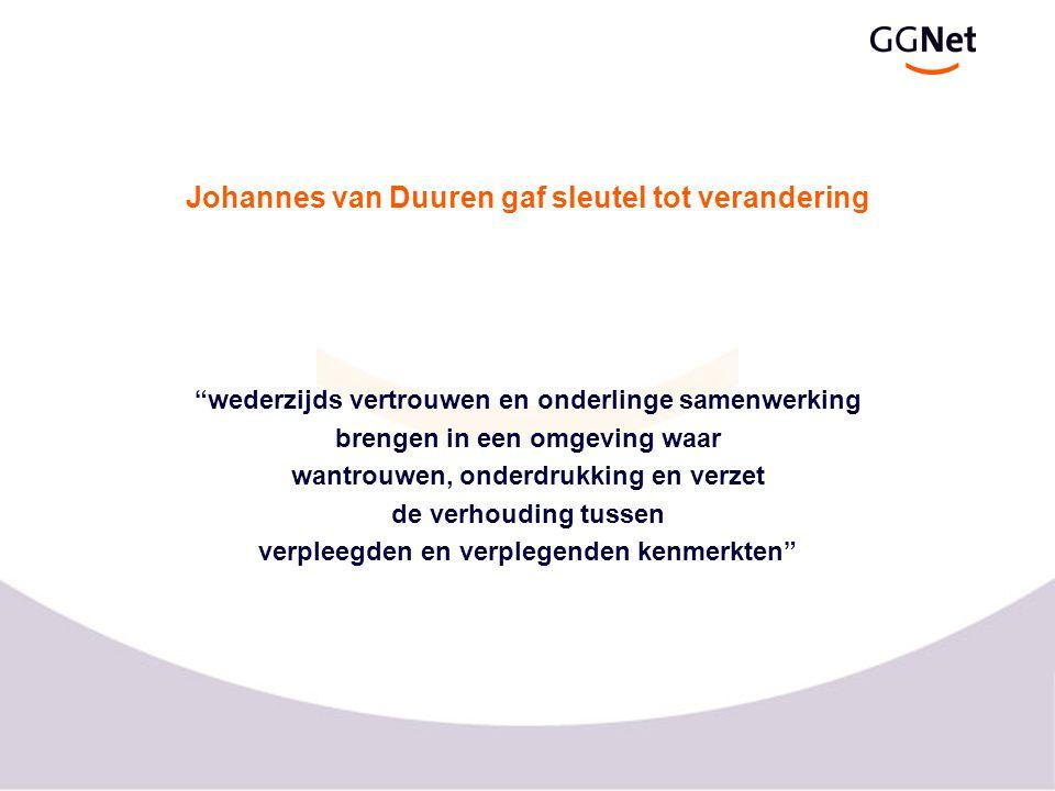 """Johannes van Duuren gaf sleutel tot verandering """"wederzijds vertrouwen en onderlinge samenwerking brengen in een omgeving waar wantrouwen, onderdrukki"""