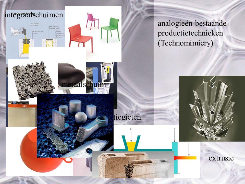 analogieën bestaande productietechnieken (Technomimicry) slibgieten rotatiegieten extrusie integraalschuimen metaalschuim