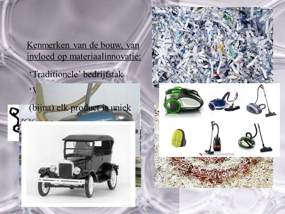 Kenmerken van de bouw, van invloed op materiaalinnovatie: 'Traditionele' bedrijfstak 19702011 'Versnipperde' bedrijfstak (bijna) elk product is uniek