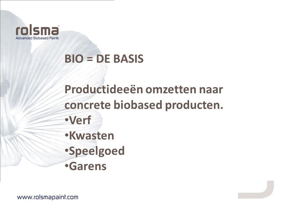 BIO = DE BASIS Productideeën omzetten naar concrete biobased producten. Verf Kwasten Speelgoed Garens