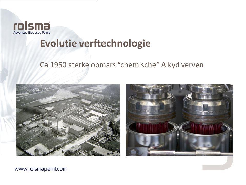 """Evolutie verftechnologie Ca 1950 sterke opmars """"chemische"""" Alkyd verven"""