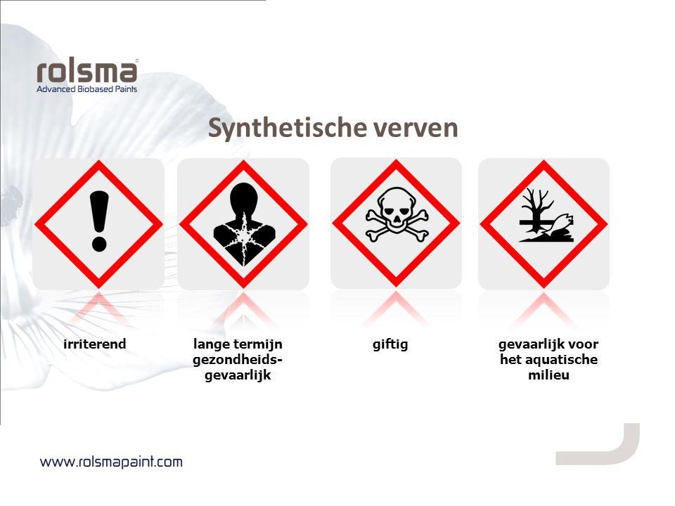 irriterend sensibiliserend schadelijk lange termijn gezondheids- gevaarlijk giftiggevaarlijk voor het aquatische milieu Synthetische verven