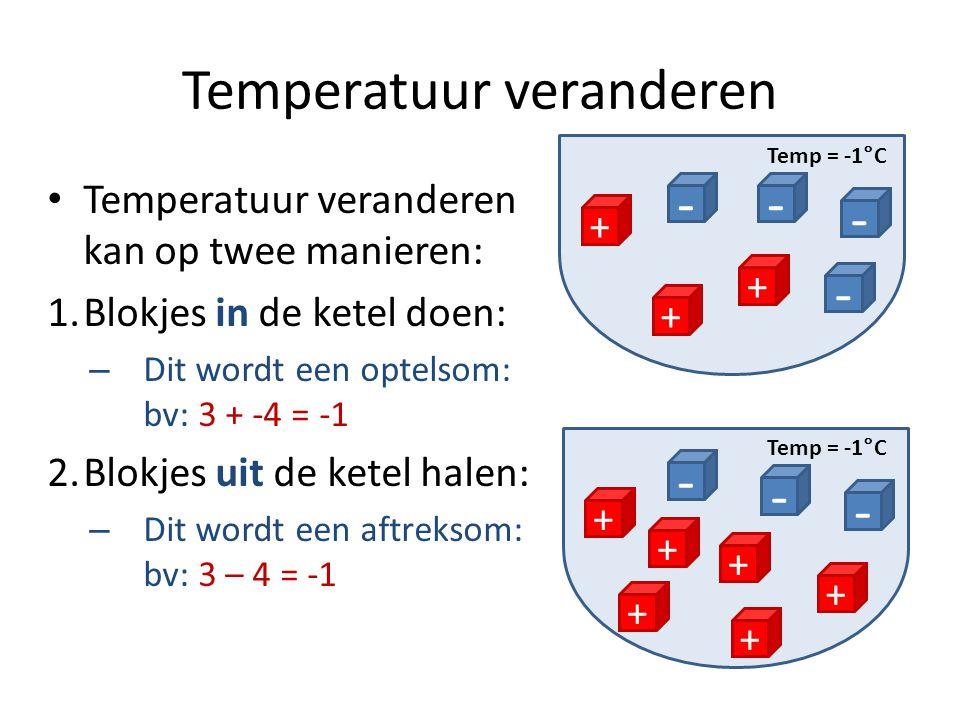 Temperatuur veranderen Temperatuur veranderen kan op twee manieren: 1.Blokjes in de ketel doen: – Dit wordt een optelsom: bv: 3 + -4 = -1 2.Blokjes ui