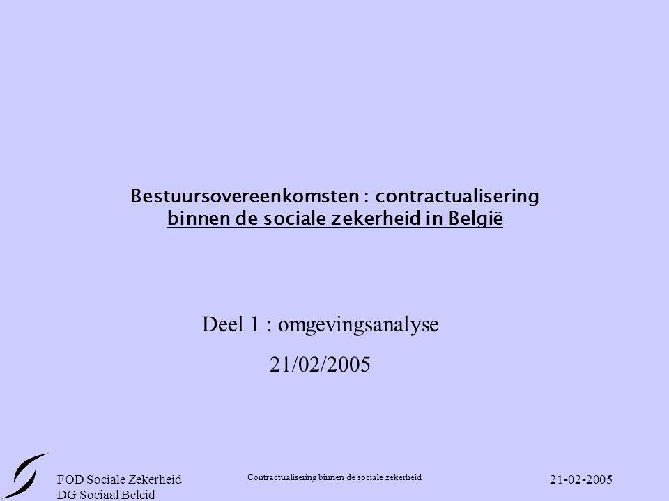 FOD Sociale Zekerheid DG Sociaal Beleid Contractualisering binnen de sociale zekerheid 21-02-2005 Bestuursovereenkomsten : contractualisering binnen de sociale zekerheid in België Deel 1 : omgevingsanalyse 21/02/2005