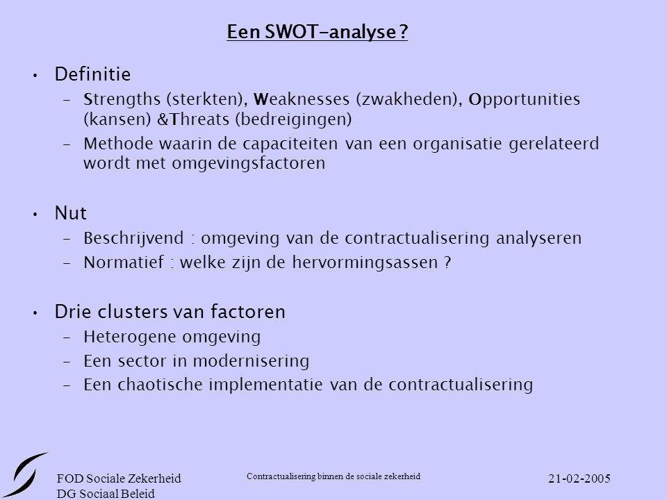 FOD Sociale Zekerheid DG Sociaal Beleid Contractualisering binnen de sociale zekerheid 21-02-2005 Een SWOT-analyse .
