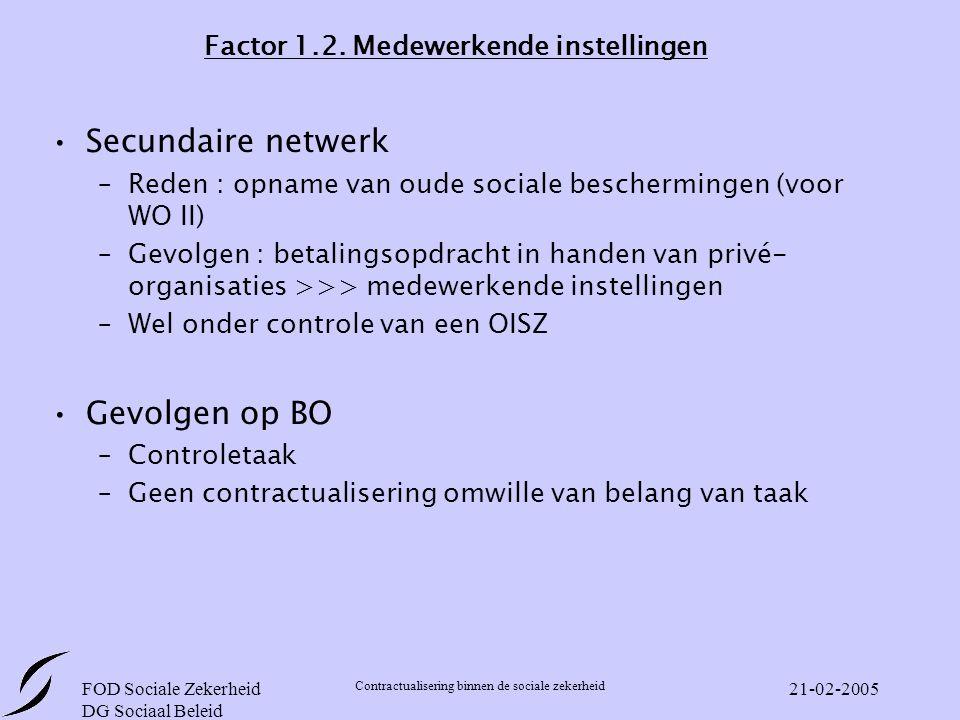 FOD Sociale Zekerheid DG Sociaal Beleid Contractualisering binnen de sociale zekerheid 21-02-2005 Factor 1.2.