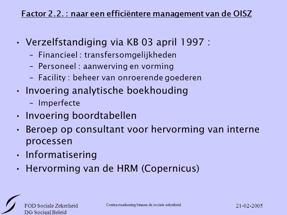 FOD Sociale Zekerheid DG Sociaal Beleid Contractualisering binnen de sociale zekerheid 21-02-2005 Factor 2.2.