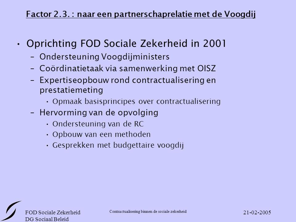 FOD Sociale Zekerheid DG Sociaal Beleid Contractualisering binnen de sociale zekerheid 21-02-2005 Factor 2.3.