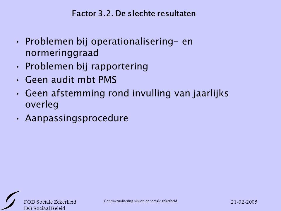 FOD Sociale Zekerheid DG Sociaal Beleid Contractualisering binnen de sociale zekerheid 21-02-2005 Factor 3.2.