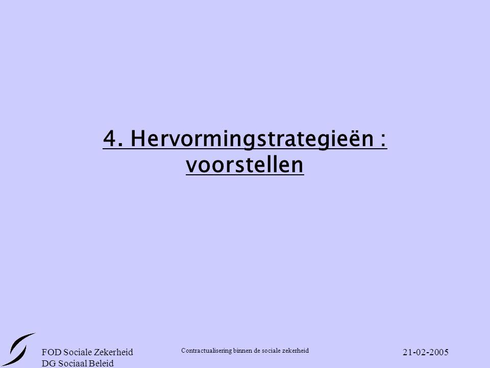FOD Sociale Zekerheid DG Sociaal Beleid Contractualisering binnen de sociale zekerheid 21-02-2005 4.