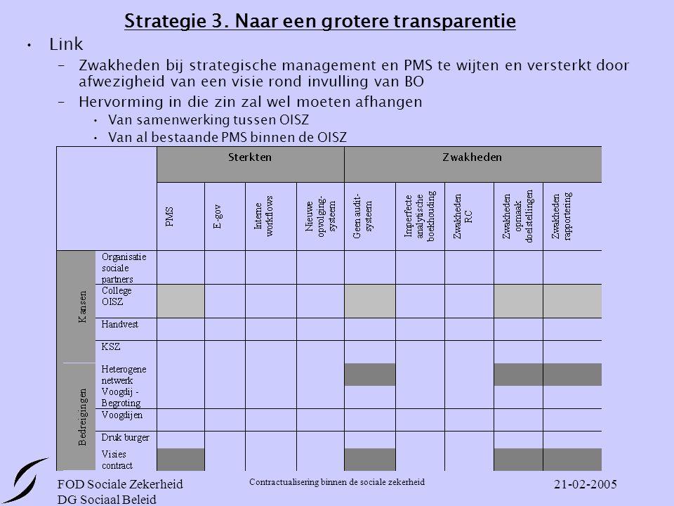 FOD Sociale Zekerheid DG Sociaal Beleid Contractualisering binnen de sociale zekerheid 21-02-2005 Strategie 3.