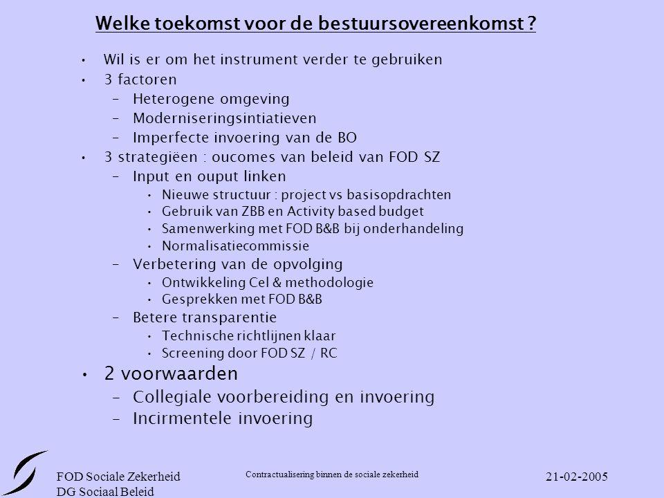 FOD Sociale Zekerheid DG Sociaal Beleid Contractualisering binnen de sociale zekerheid 21-02-2005 Welke toekomst voor de bestuursovereenkomst .