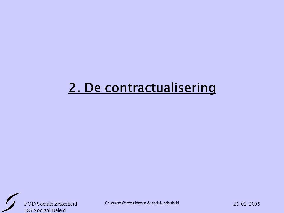 FOD Sociale Zekerheid DG Sociaal Beleid Contractualisering binnen de sociale zekerheid 21-02-2005 2.