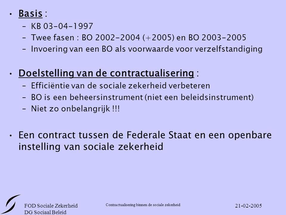 FOD Sociale Zekerheid DG Sociaal Beleid Contractualisering binnen de sociale zekerheid 21-02-2005 Basis : –KB 03-04-1997 –Twee fasen : BO 2002-2004 (+2005) en BO 2003-2005 –Invoering van een BO als voorwaarde voor verzelfstandiging Doelstelling van de contractualisering : –Efficiëntie van de sociale zekerheid verbeteren –BO is een beheersinstrument (niet een beleidsinstrument) –Niet zo onbelangrijk !!.