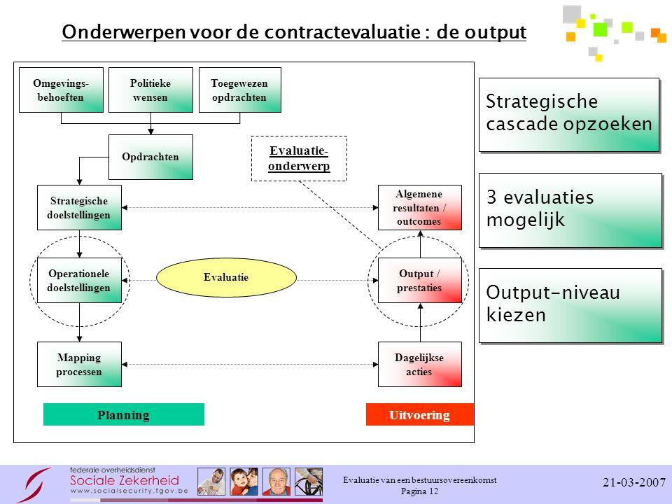 Evaluatie van een bestuursovereenkomst Pagina 12 21-03-2007 Onderwerpen voor de contractevaluatie : de output Strategische doelstellingen Omgevings- behoeften Politieke wensen Operationele doelstellingen Mapping processen Dagelijkse acties Output / prestaties Algemene resultaten / outcomes PlanningUitvoering Toegewezen opdrachten Opdrachten Evaluatie Evaluatie- onderwerp Strategische cascade opzoeken 3 evaluaties mogelijk Output-niveau kiezen