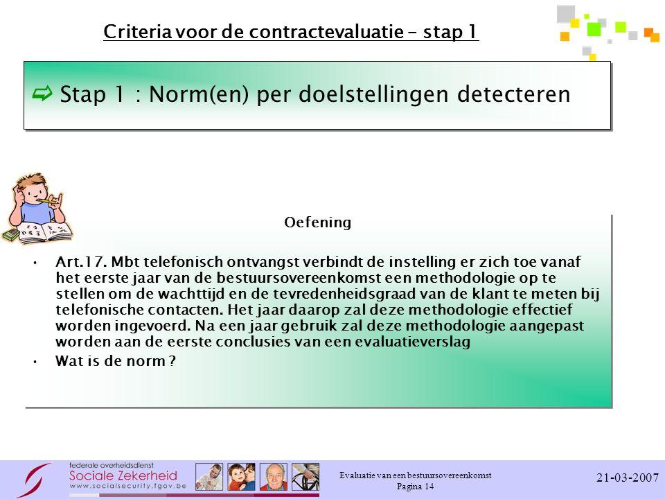 Evaluatie van een bestuursovereenkomst Pagina 14 21-03-2007 Criteria voor de contractevaluatie – stap 1 Oefening Art.17.