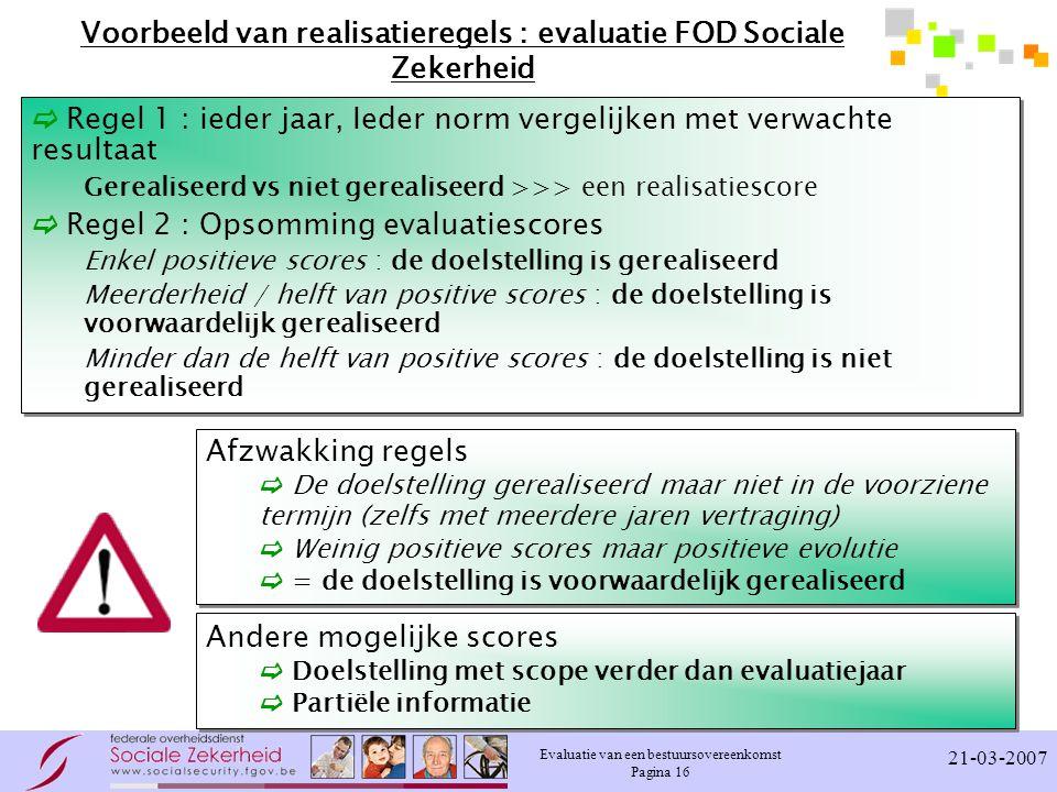 Evaluatie van een bestuursovereenkomst Pagina 16 21-03-2007 Voorbeeld van realisatieregels : evaluatie FOD Sociale Zekerheid  Regel 1 : ieder jaar, I