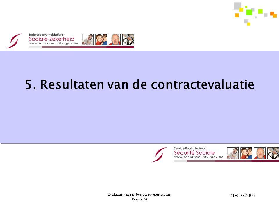 Evaluatie van een bestuursovereenkomst Pagina 24 21-03-2007 5. Resultaten van de contractevaluatie