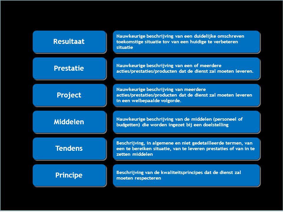 Nauwkeurige beschrijving van een duidelijke omschreven toekomstige situatie tov van een huidige te verbeteren situatie Resultaat Nauwkeurige beschrijving van een of meerdere acties/prestaties/producten dat de dienst zal moeten leveren.