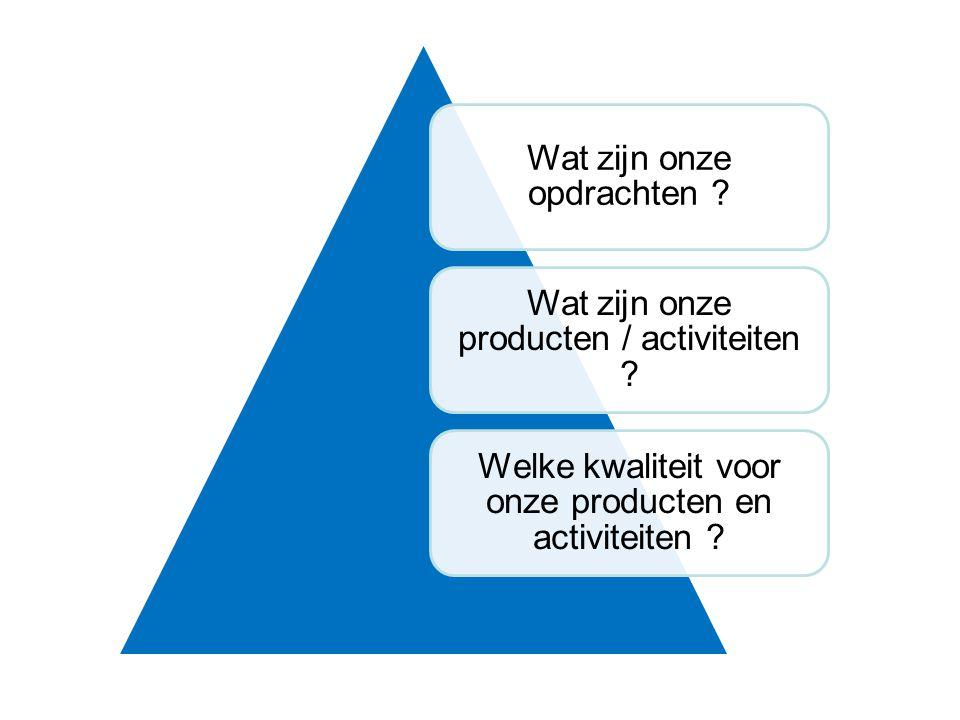 Wat zijn onze opdrachten . Wat zijn onze producten / activiteiten .