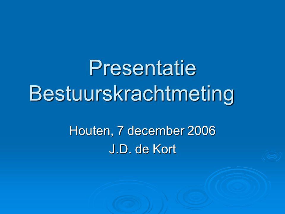 Presentatie Bestuurskrachtmeting Houten, 7 december 2006 J.D. de Kort