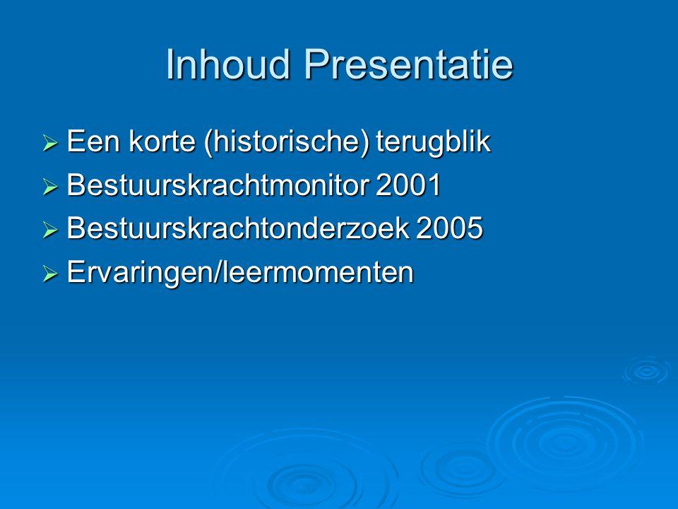 Inhoud Presentatie  Een korte (historische) terugblik  Bestuurskrachtmonitor 2001  Bestuurskrachtonderzoek 2005  Ervaringen/leermomenten
