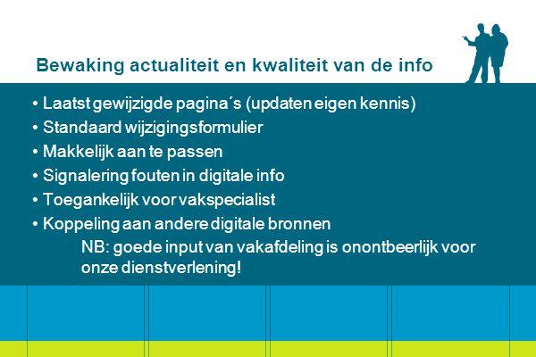 Bewaking actualiteit en kwaliteit van de info Laatst gewijzigde pagina´s (updaten eigen kennis) Standaard wijzigingsformulier Makkelijk aan te passen