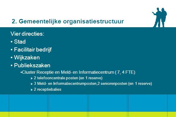 2. Gemeentelijke organisatiestructuur Vier directies: Stad Facilitair bedrijf Wijkzaken Publiekszaken Cluster Receptie en Meld- en Informatiecentrum (