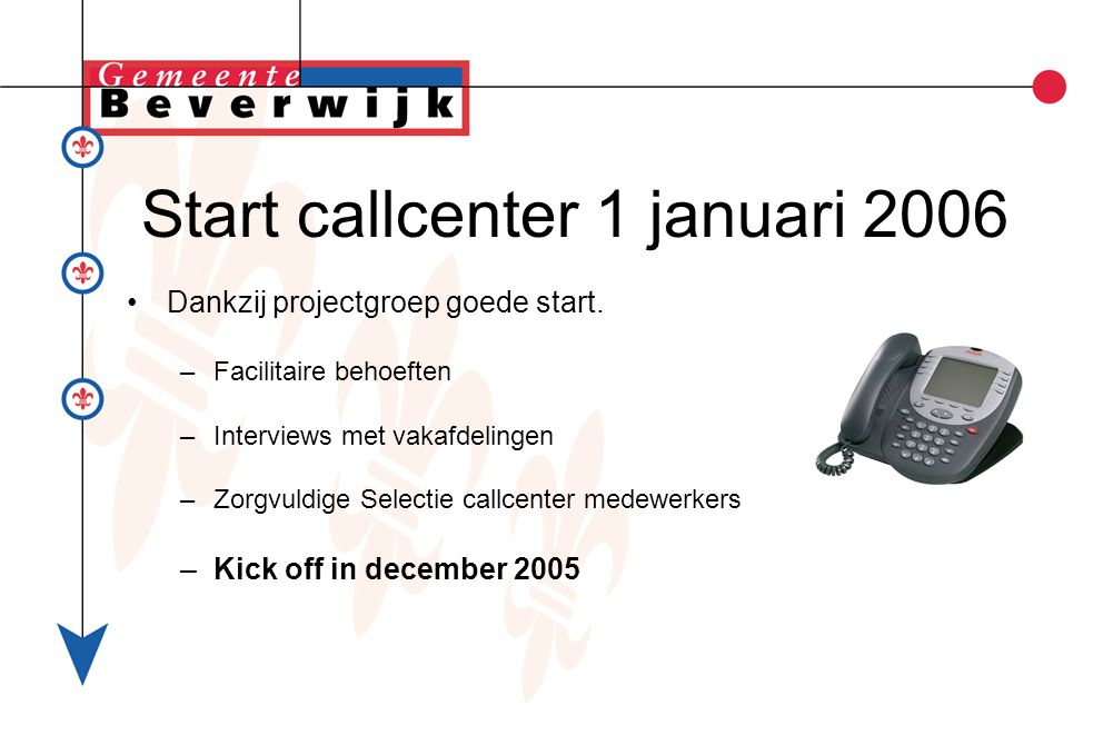 Start callcenter 1 januari 2006 Dankzij projectgroep goede start.