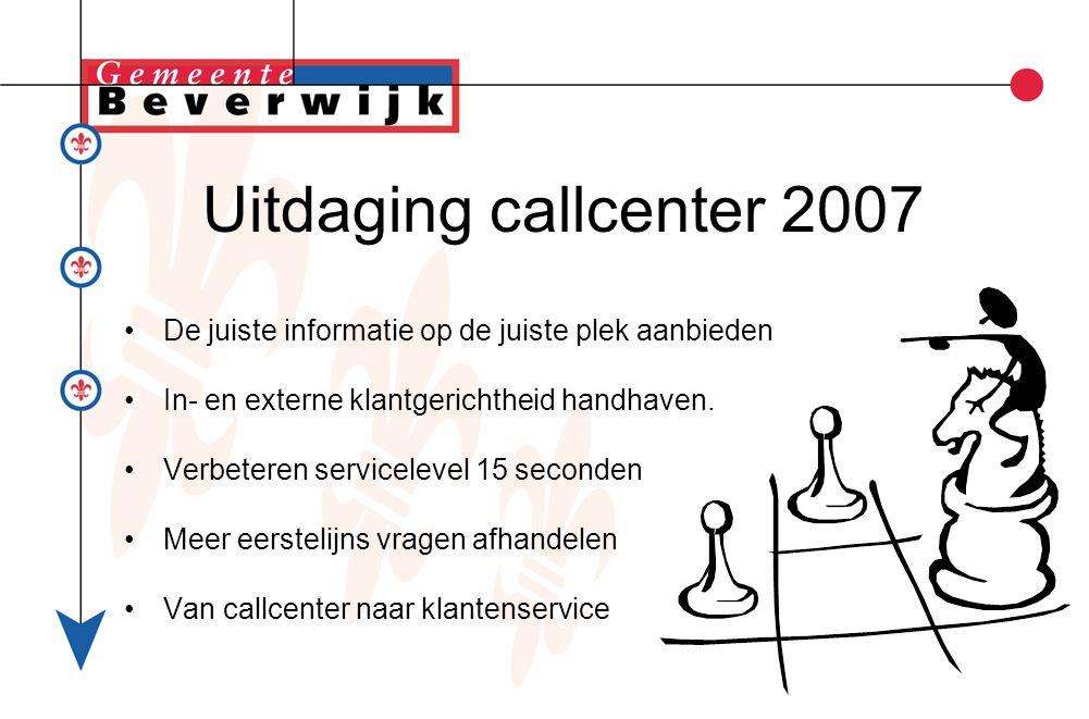 Uitdaging callcenter 2007 De juiste informatie op de juiste plek aanbieden In- en externe klantgerichtheid handhaven.