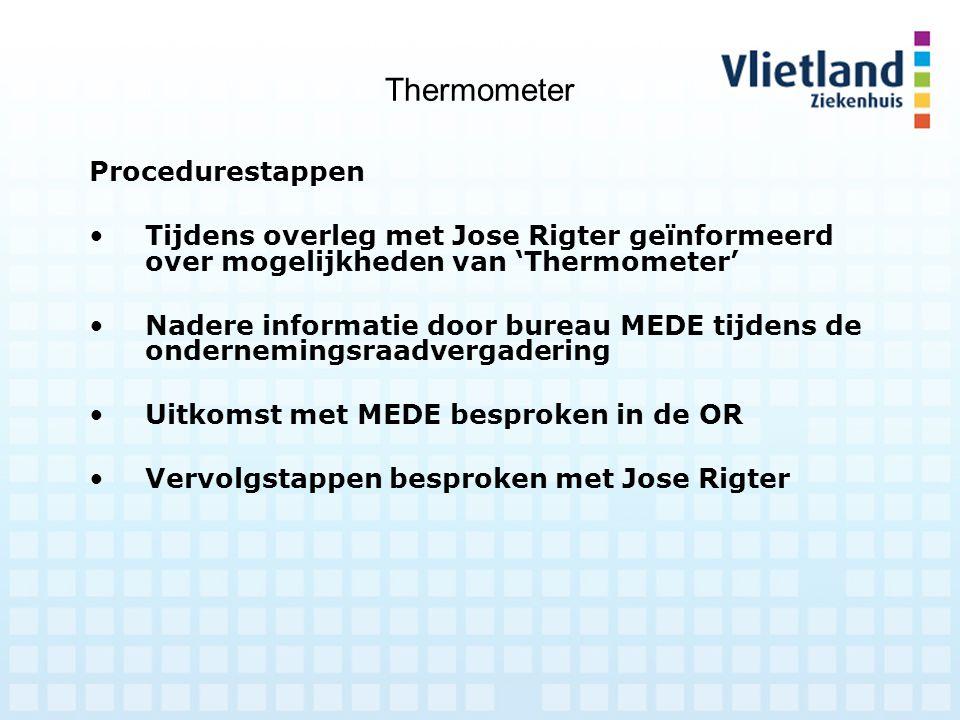 Thermometer Procedurestappen Tijdens overleg met Jose Rigter geïnformeerd over mogelijkheden van 'Thermometer' Nadere informatie door bureau MEDE tijd