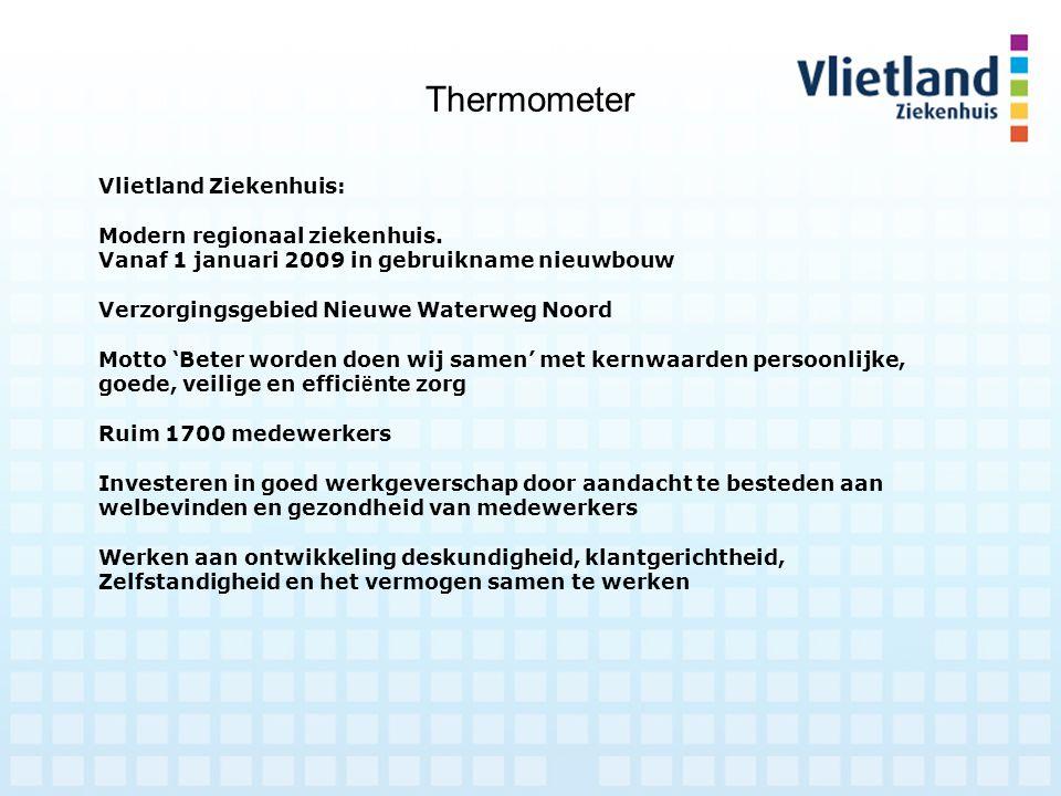 Thermometer Vlietland Ziekenhuis: Modern regionaal ziekenhuis. Vanaf 1 januari 2009 in gebruikname nieuwbouw Verzorgingsgebied Nieuwe Waterweg Noord M