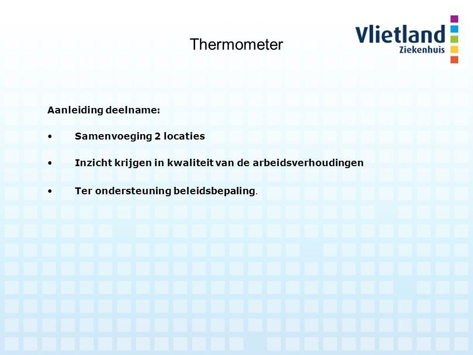 Thermometer Aanleiding deelname: Samenvoeging 2 locaties Inzicht krijgen in kwaliteit van de arbeidsverhoudingen Ter ondersteuning beleidsbepaling.