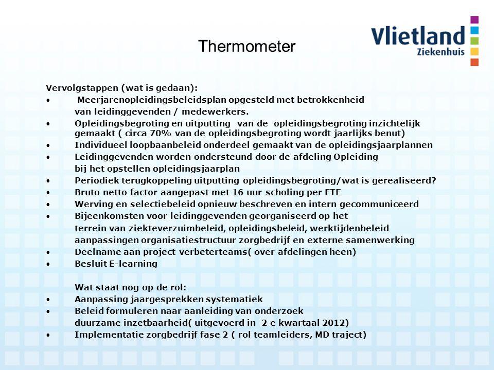 Thermometer Vervolgstappen (wat is gedaan): Meerjarenopleidingsbeleidsplan opgesteld met betrokkenheid van leidinggevenden / medewerkers. Opleidingsbe