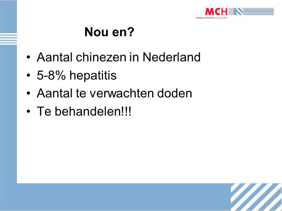 Nou en? Aantal chinezen in Nederland 5-8% hepatitis Aantal te verwachten doden Te behandelen!!!