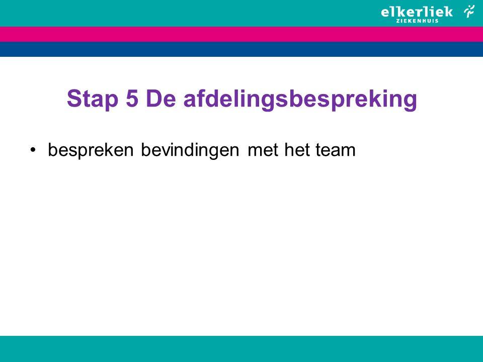 Stap 5 De afdelingsbespreking bespreken bevindingen met het team