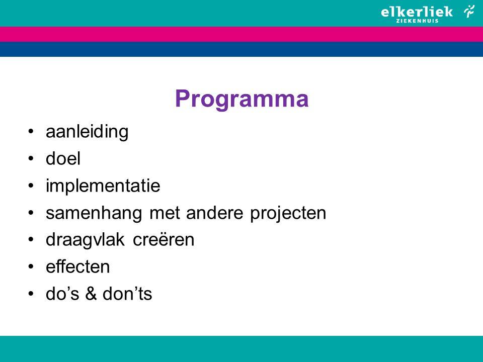 Programma aanleiding doel implementatie samenhang met andere projecten draagvlak creëren effecten do's & don'ts