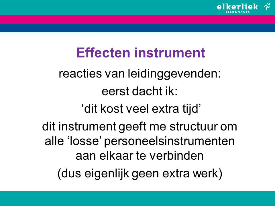 Effecten instrument reacties van leidinggevenden: eerst dacht ik: 'dit kost veel extra tijd' dit instrument geeft me structuur om alle 'losse' persone