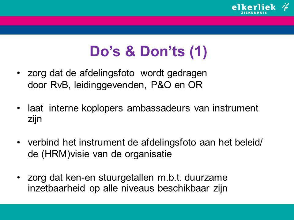 Do's & Don'ts (1) zorg dat de afdelingsfoto wordt gedragen door RvB, leidinggevenden, P&O en OR laat interne koplopers ambassadeurs van instrument zij