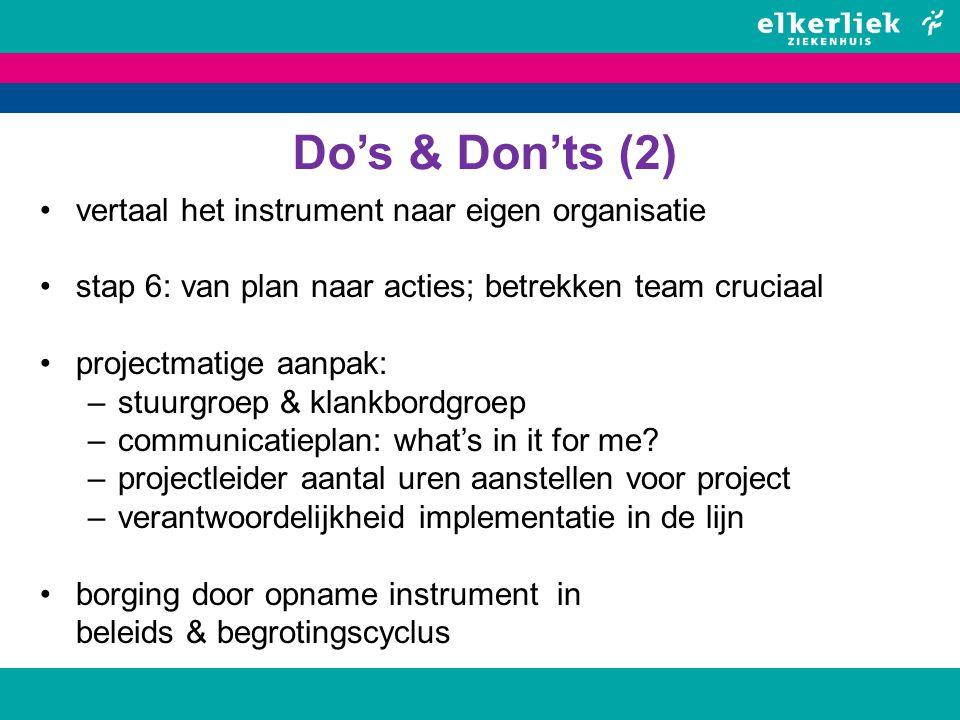 Do's & Don'ts (2) vertaal het instrument naar eigen organisatie stap 6: van plan naar acties; betrekken team cruciaal projectmatige aanpak: –stuurgroe