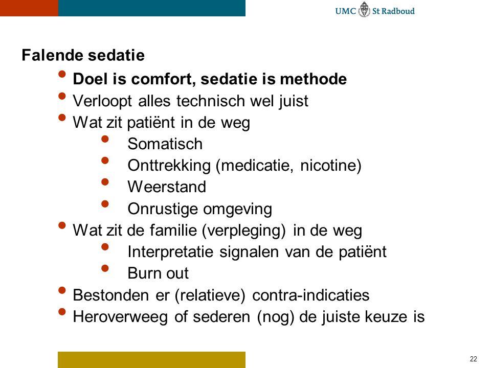 22 Falende sedatie Doel is comfort, sedatie is methode Verloopt alles technisch wel juist Wat zit patiënt in de weg Somatisch Onttrekking (medicatie,