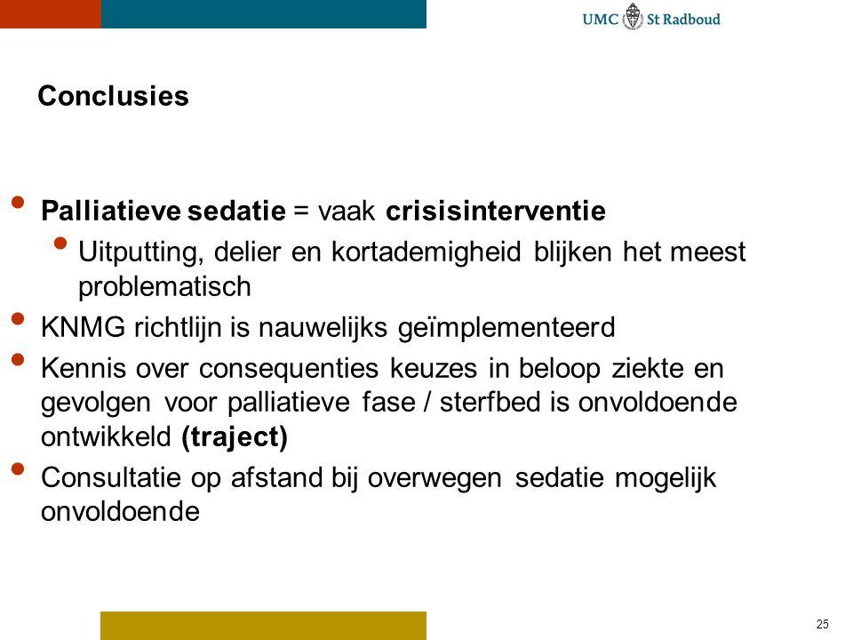 25 Conclusies Palliatieve sedatie = vaak crisisinterventie Uitputting, delier en kortademigheid blijken het meest problematisch KNMG richtlijn is nauw