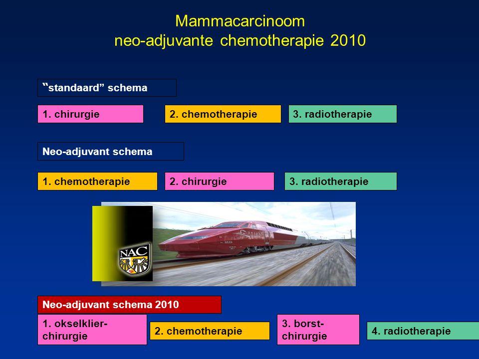 "Mammacarcinoom neo-adjuvante chemotherapie 2010 2. chemotherapie1. chirurgie 1. chemotherapie2. chirurgie 3. radiotherapie "" standaard"" schema Neo-adj"