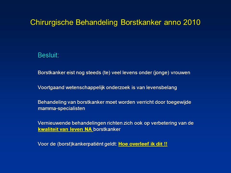Chirurgische Behandeling Borstkanker anno 2010 Besluit: Borstkanker eist nog steeds (te) veel levens onder (jonge) vrouwen Voortgaand wetenschappelijk