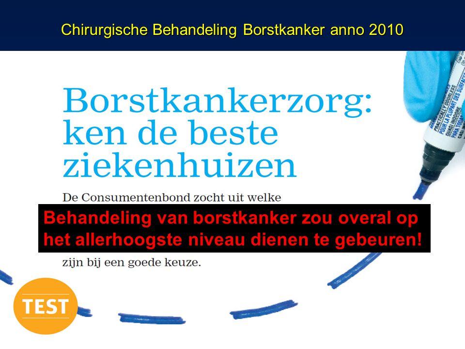 Chirurgische Behandeling Borstkanker anno 2010 Behandeling van borstkanker zou overal op het allerhoogste niveau dienen te gebeuren!