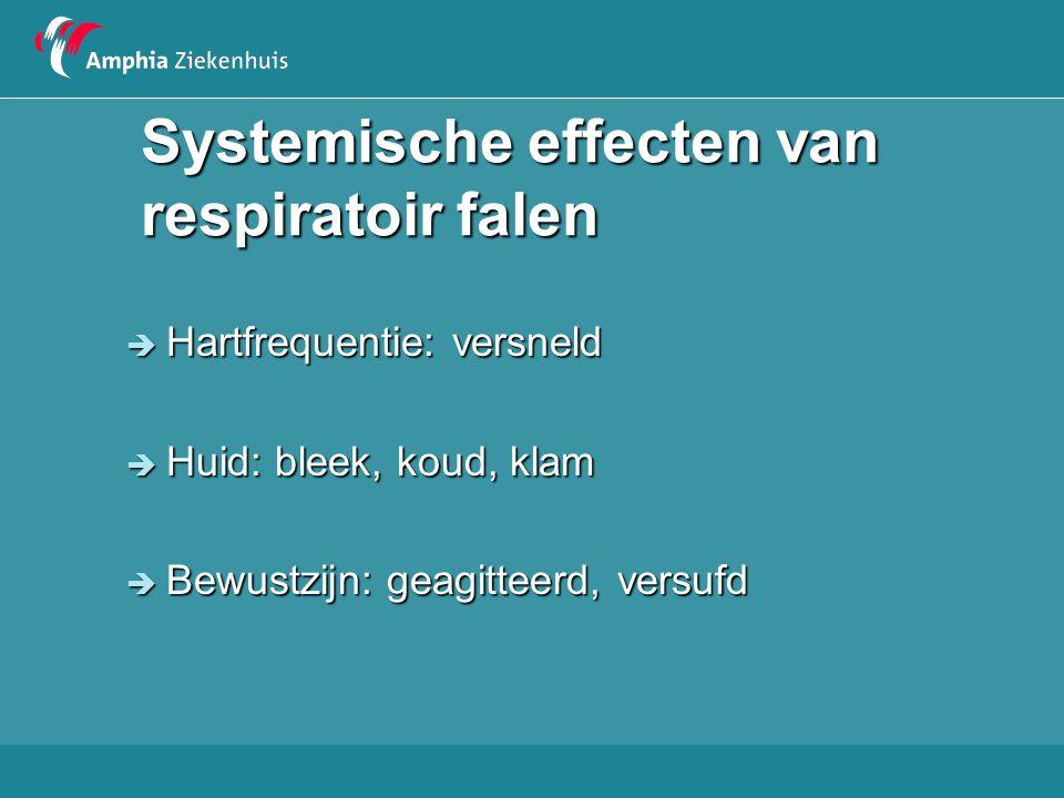 Systemische effecten van respiratoir falen  Hartfrequentie: versneld  Huid: bleek, koud, klam  Bewustzijn: geagitteerd, versufd