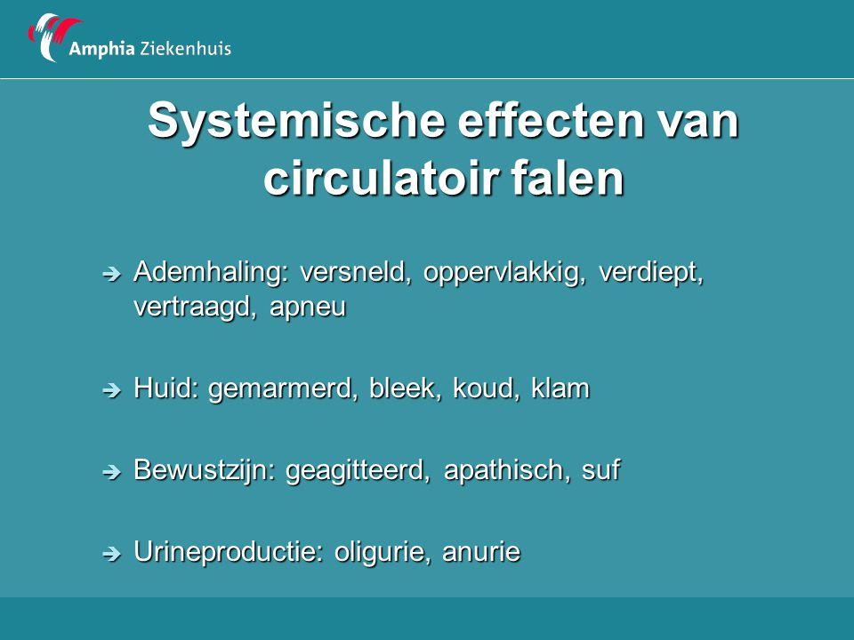 Systemische effecten van circulatoir falen  Ademhaling: versneld, oppervlakkig, verdiept, vertraagd, apneu  Huid: gemarmerd, bleek, koud, klam  Bew