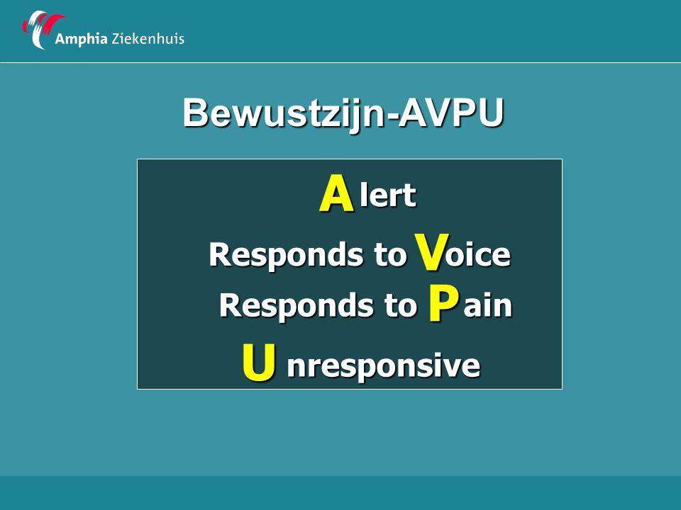 Bewustzijn-AVPUAlert V oice Responds to P ain U nresponsive